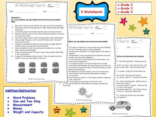 Word Problems: Addition & Subtraction Set 1