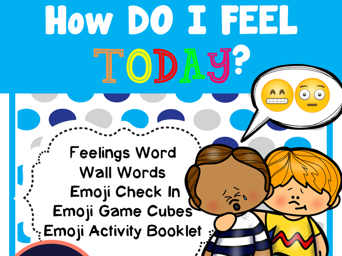 My Feelings - Word Wall Words, Emoji Game Cube, Feelings Activities