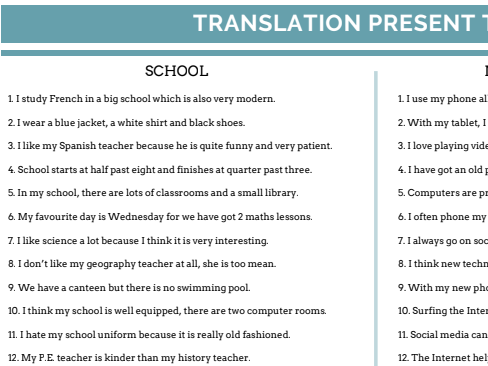 GCSE French translation (4 tenses)