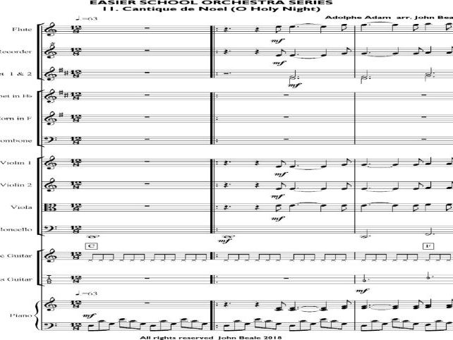 Cantique de Noel (O Holy Night)  arranged for school orchestra – Sibelius 5 file