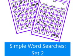 Simple Word Search Puzzles in Large Print, Nouns & Verbs, Autism, Special Education, SEND