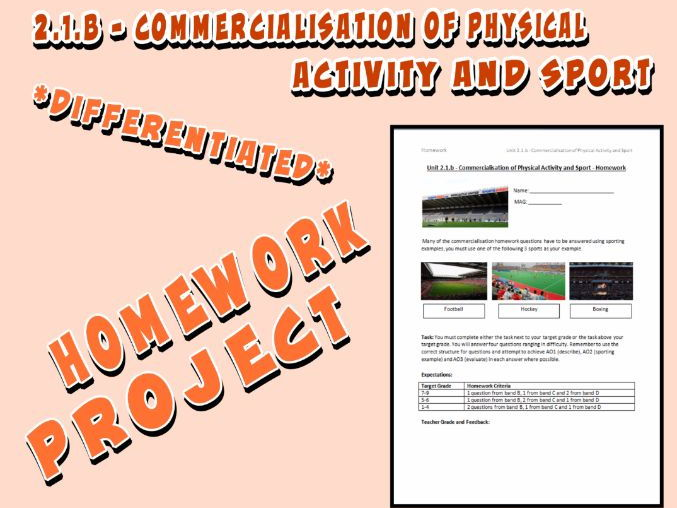 OCR GCSE PE 9-1 (2016) 2.1.b - Homework Project - Commercialisation of Physical Activity and Sport