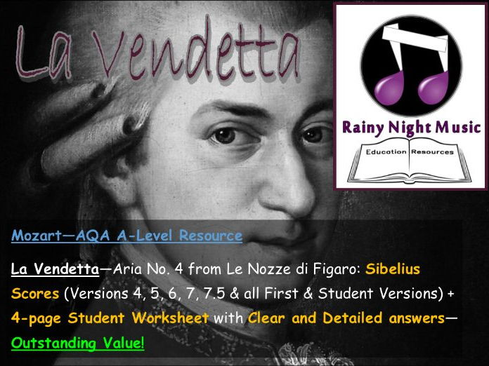 AQA A Level Music Set Work Full Teaching  and Learning Work Pack LA VENDETTA from FIGARO by MOZART