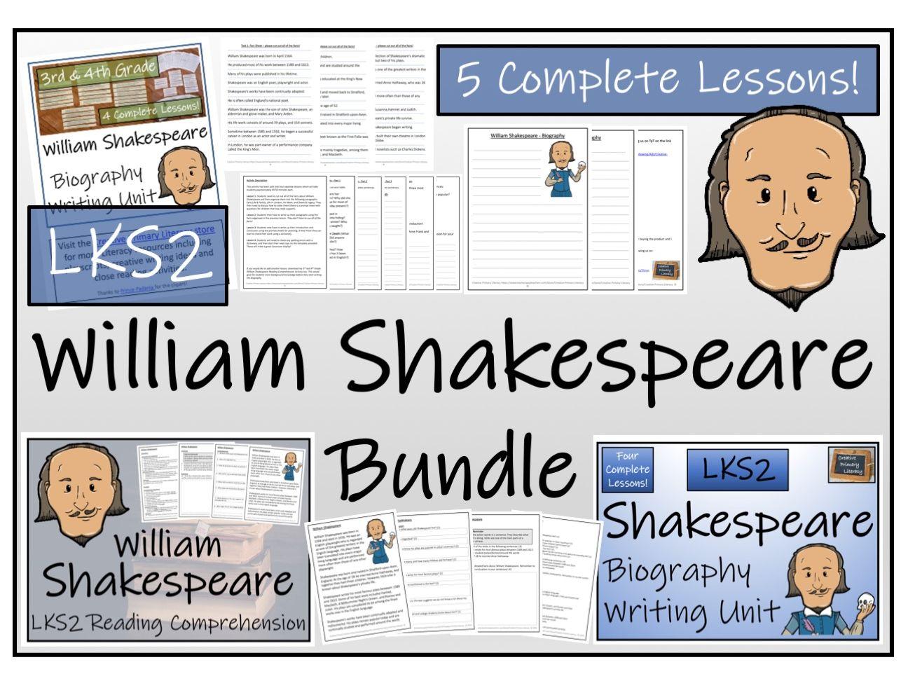 LKS2 Literacy - William Shakespeare Reading Comprehension & Biography Bundle