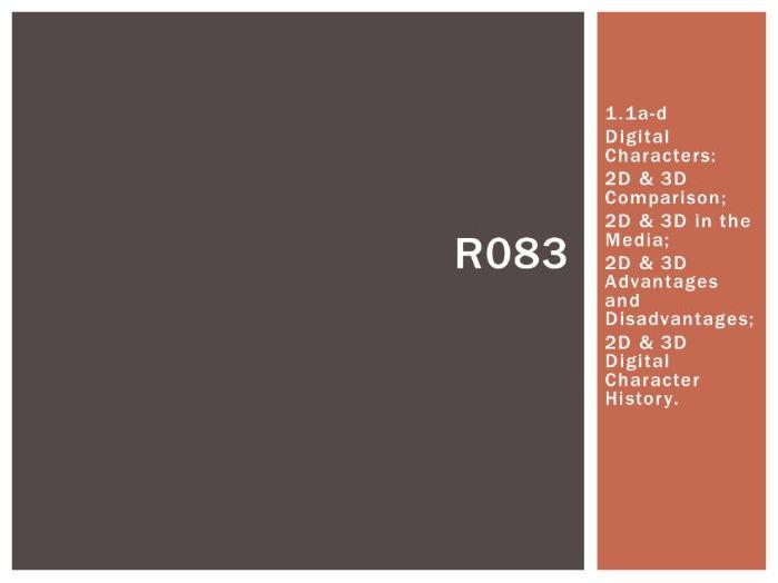 R083 - Creating Digital Characters, 2D & 3D [LO1.1], CAMNATS, Creative iMedia Lvls 1/2