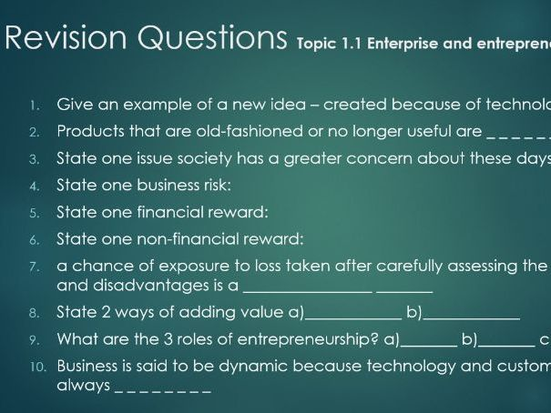GCSE Business Revision Quiz Questions for all Edexcel topics for 9-1