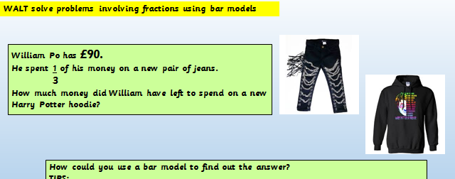 Find a fraction of an amount Maths mastery Year 5 Powerpoint and task sheets