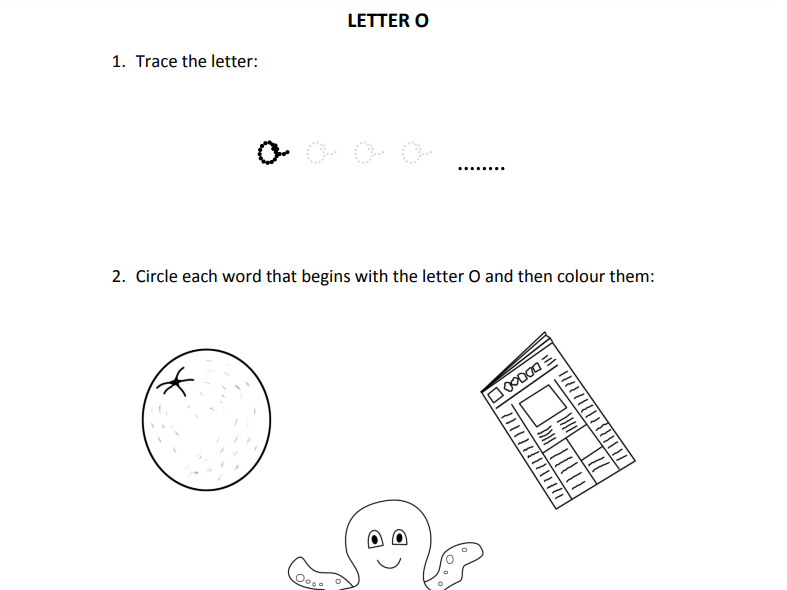 Learning letter O for Reception students