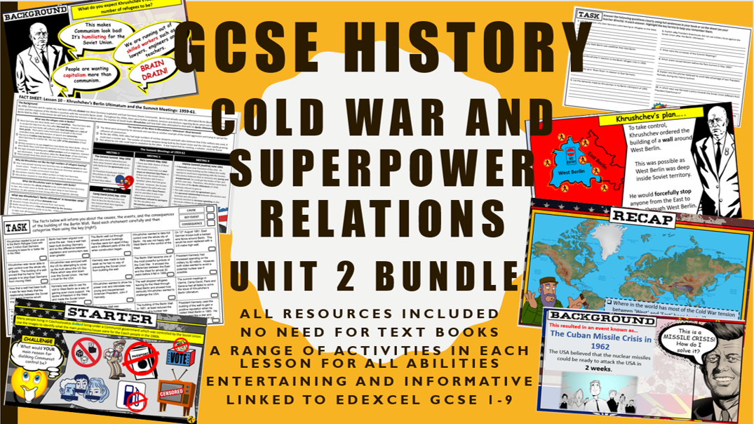 GCSE History Edexcel Cold War and Superpower Relations  Unit 2 Bundle
