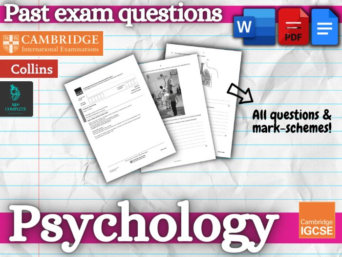IGCSE PE - PAST EXAM QUESTIONS and mark schemes - CHAPTER 9 (Psychology)