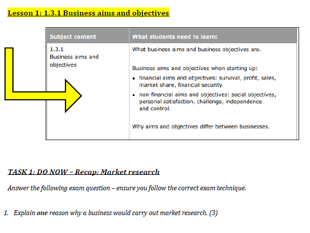 Theme 1 - 1.3 Putting a business idea into practice workbook