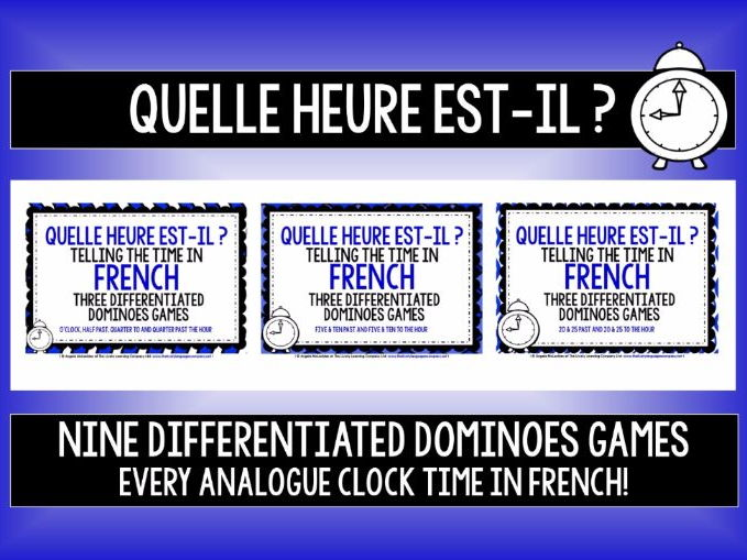 FRENCH TELLING THE TIME - 9 DIFFERENTIATED DOMINOES GAMES - EVERY ANALOGUE CLOCK TIME IN FRENCH!