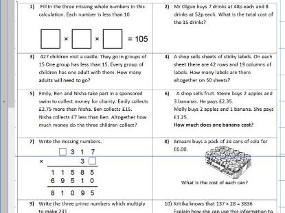 Four Operations mixed multiplication division subtraction addition- word problems - WORKSHEET ONLY