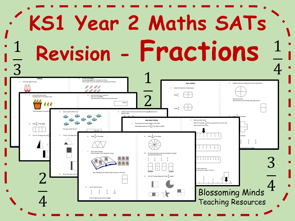 KS1 Year 2 Maths SATs - Fractions Revision - 3 Levels