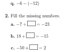 Operations with integers worksheet (with answers)