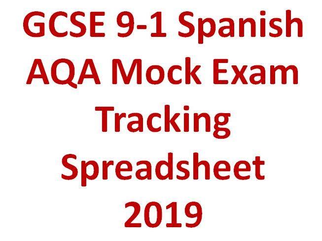 GCSE 9-1 Spanish AQA Mock Exam Tracking Spreadsheet  2019