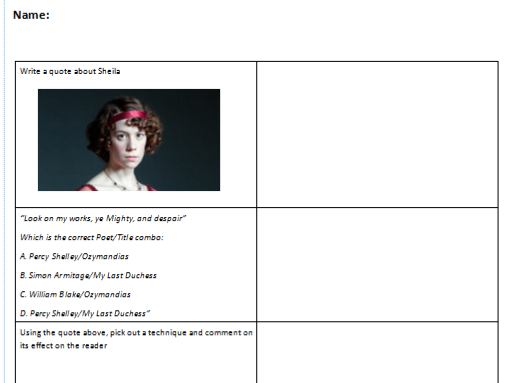 AQA English Literature starters - An Inspector Calls/Power and Conflict poetry