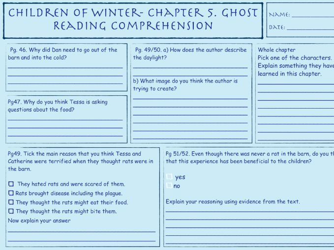 Children of Winter Chapter 2,3,5 Comprehension Activities