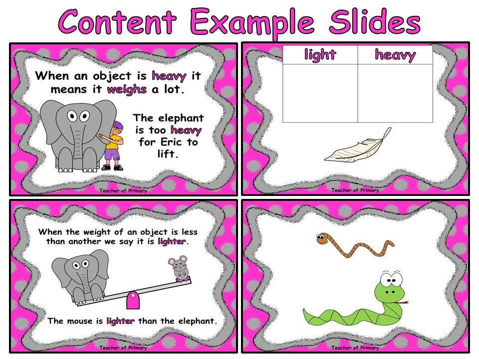 Comparing Weight - Year 1 - PowerPoint presentation and worksheets