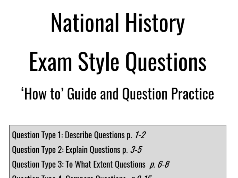 National History (4 and 5) exam question practice booklets