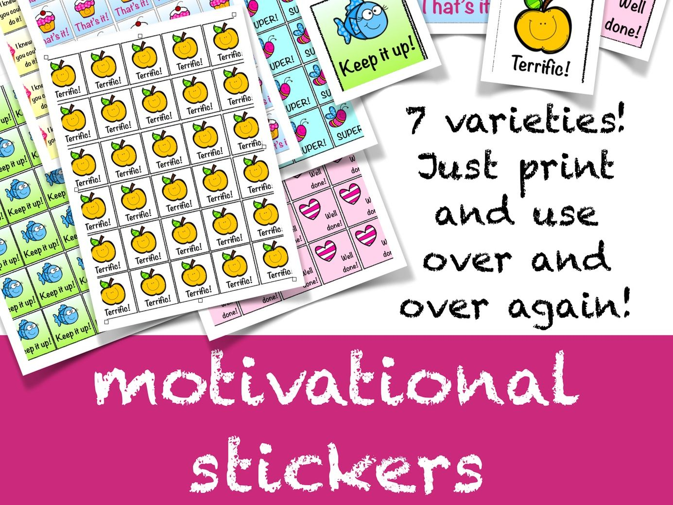 Encourage, decorate and motivate! Three wonderful templates / printables for decorating your classroom ! Gift tags, Animal pennants and motivational stickers, classroom management