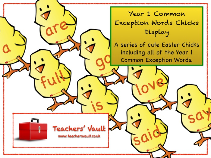Year 1 Common Exception Words Chicks Display