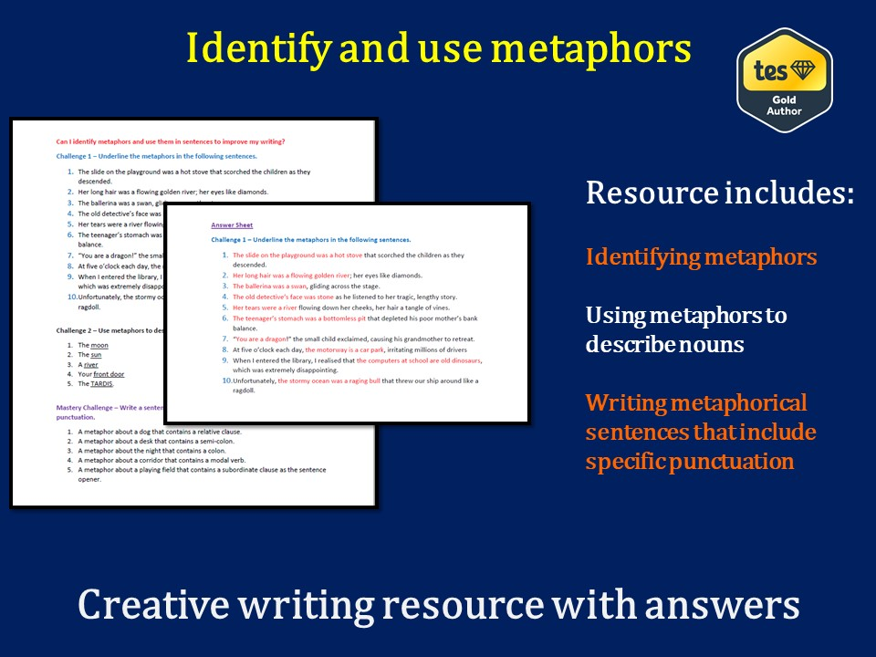 Identify and use metaphors (differentiated, with answers)