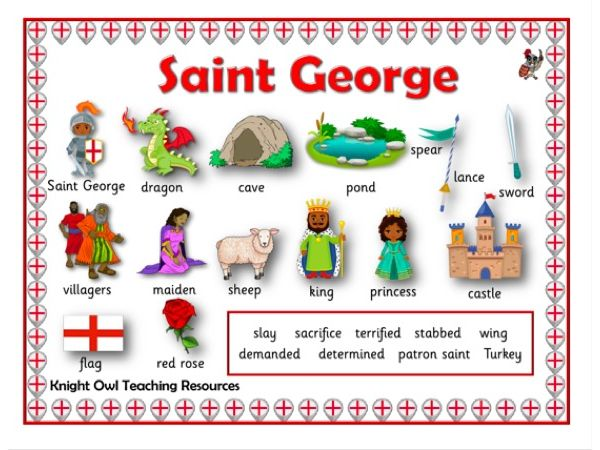 St George and the Dragon Word Mat