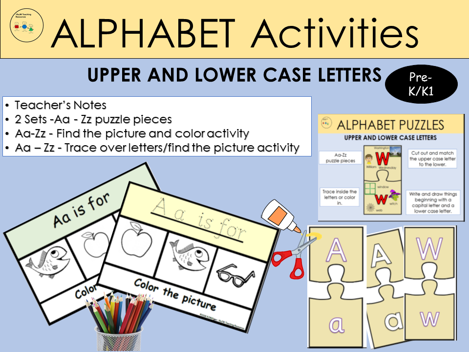 Alphabet Activities, Match Capital/Lower case letters Puzzles, Trace over dots, Cut /Paste - PreK/K