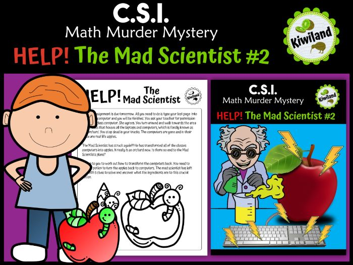 CSI Math Murder Mystery - HELP! The Mad Scientist #2 (x3 and x4 times tables)