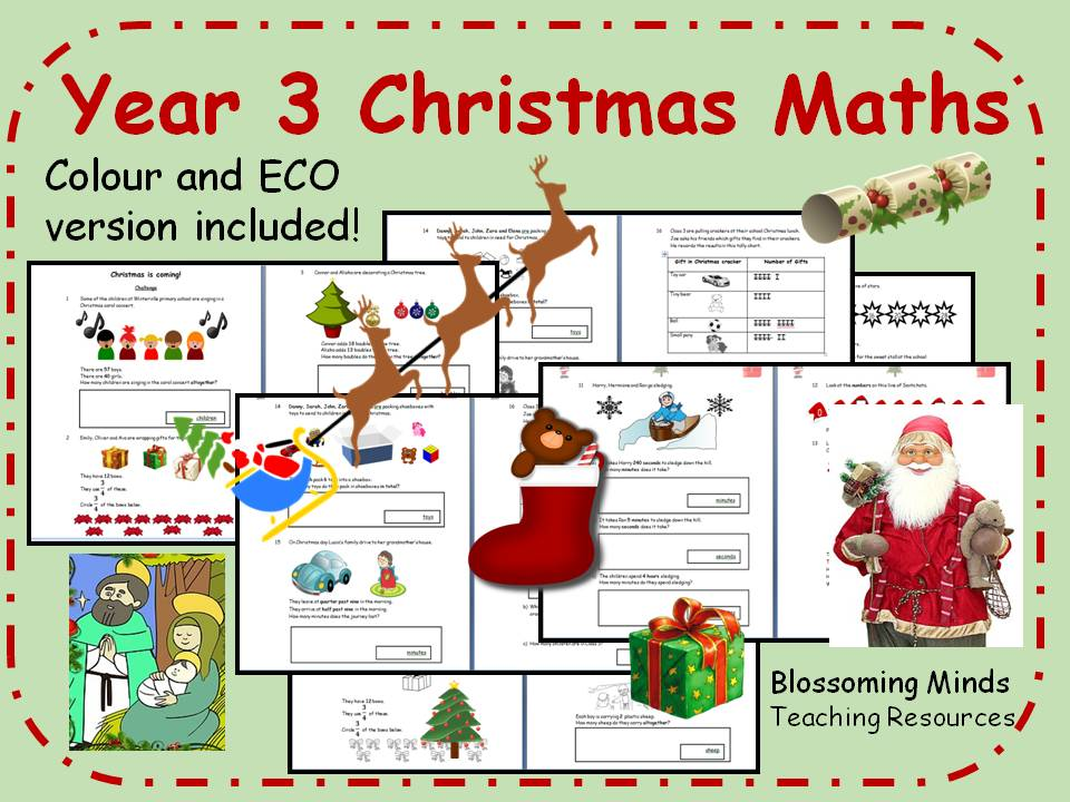 Year 3 Christmas Maths - all topics - differentiated levels by ...