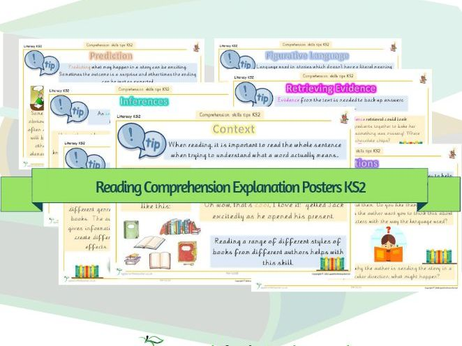 Reading Comprehension Tips and Explanations of Terminology Posters KS2