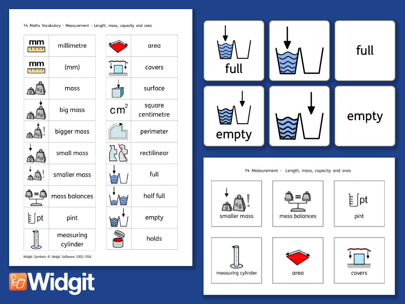 Capacity Pack - Maths Vocabulary with Widgit Symbols