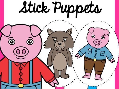 Three Little Pigs Stick Puppets