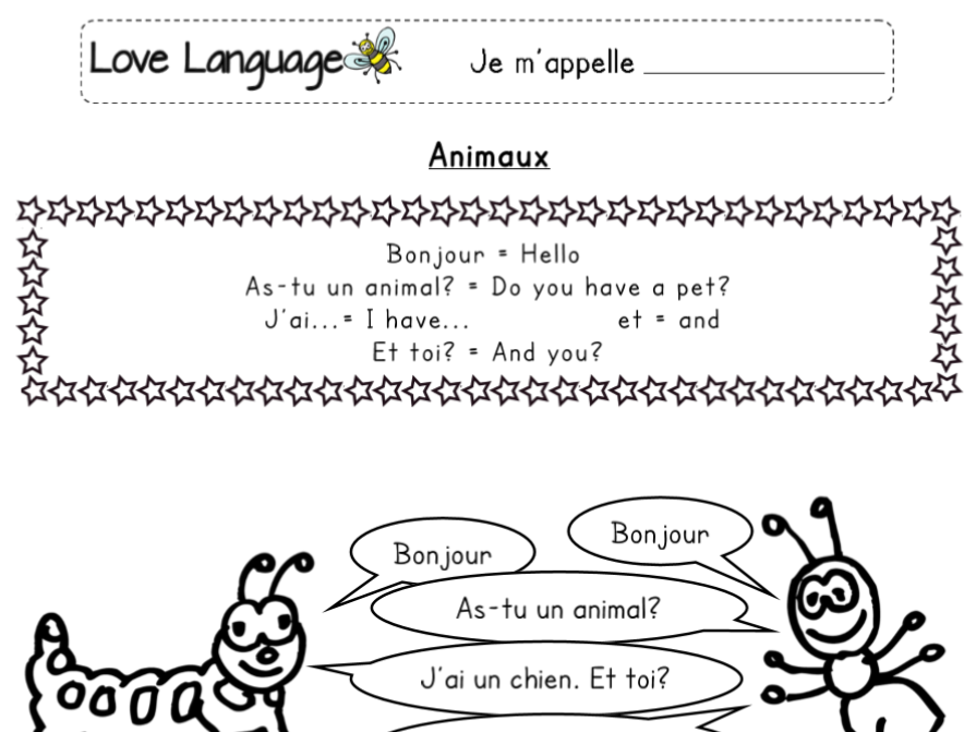 Pets in French - worksheets