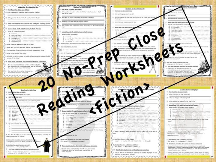 No-Prep Close Reading Passages - FICTION