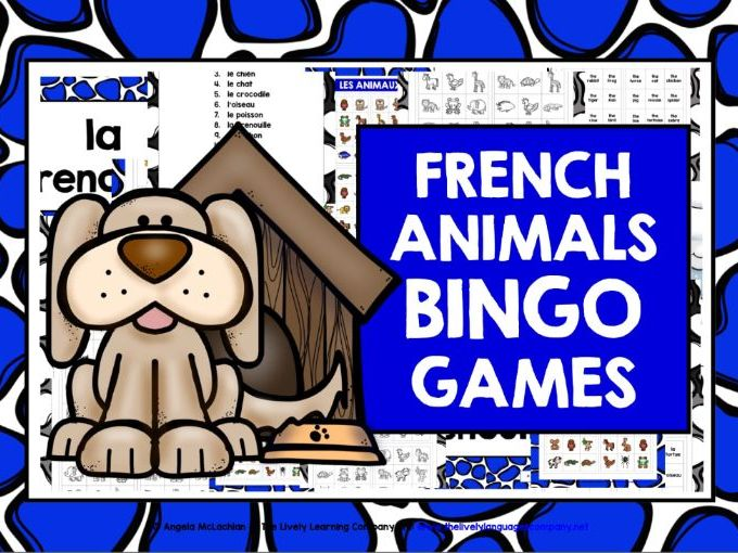 PRIMARY FRENCH ANIMALS BINGO