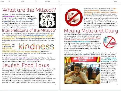 Judaism: Mitzvot and Kosher: Differentiated Information and Task Sheets