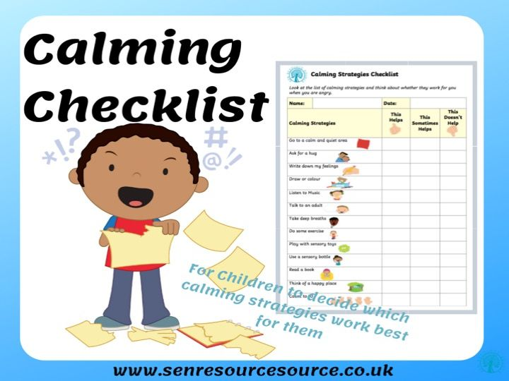 Calming Strategies Checklist