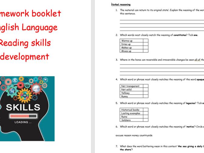 Reading skills homework booklet