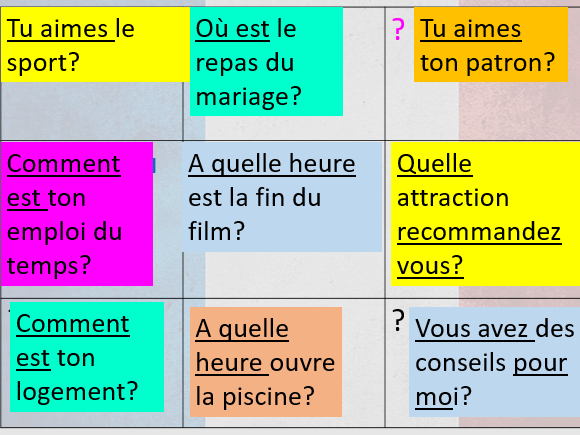 French GCSE speaking- role play questions