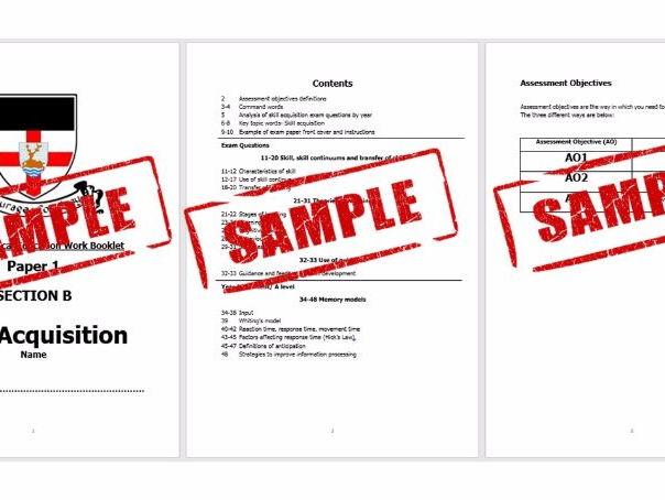 2016 Spec- A Level PE- Skill Acquisition Exam Q's & Markscheme booklet- Topic order progress checker