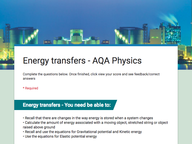 GCSE Physics and Biology Revision quizzes for AQA Combined Science