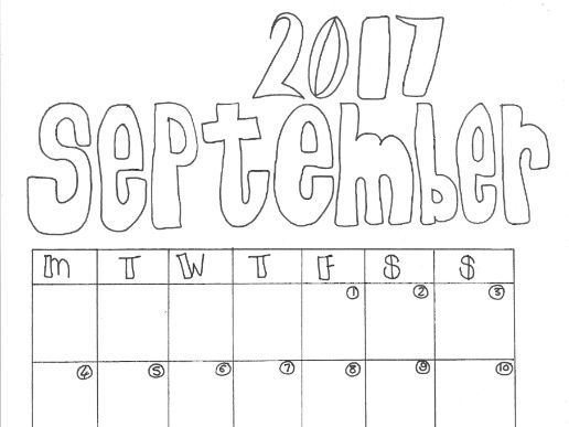 September Calendar Organiser and Colouring Sheet