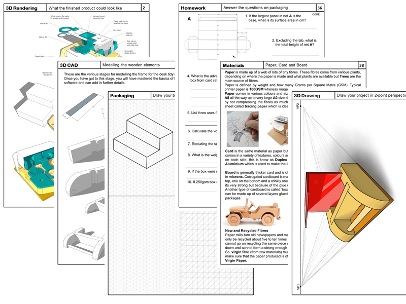 KS3 Desk Organiser additional Pages (for use with the Design Booklet Template)