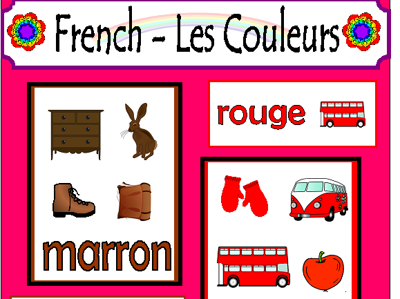French Couleurs Colours Display Teaching Resources Flashcards KS1 KS2