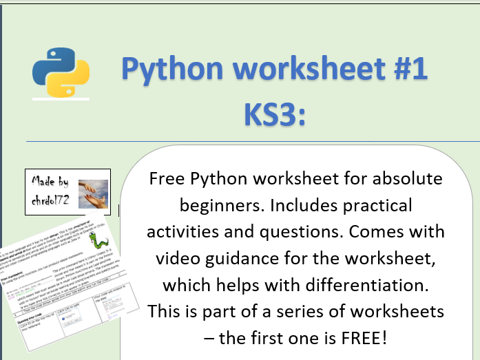 Python Worksheet for KS3