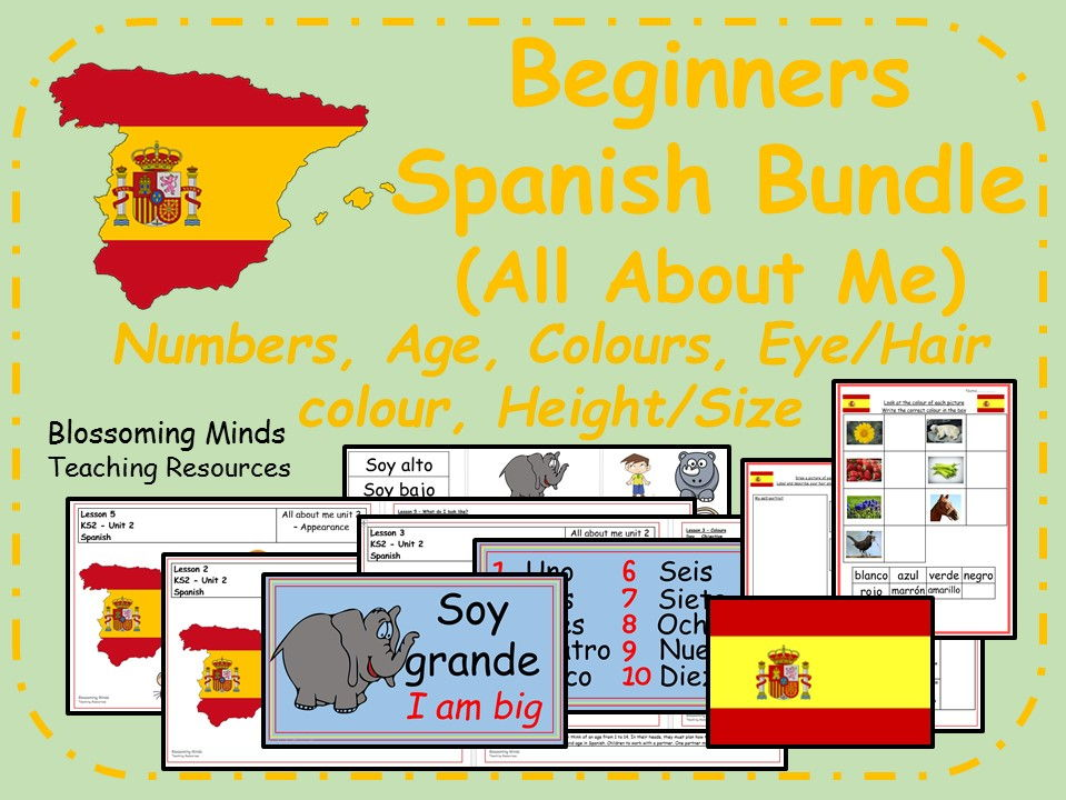 Spanish All About Me 5 lesson  bundle - beginners