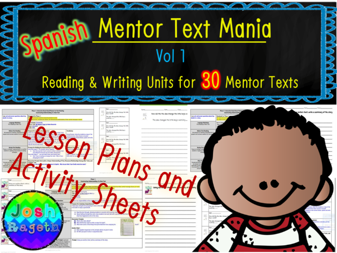 Spanish Mentor Text Mania Vol 1 Bundle NO Prep Reading Writing Units for 30 Books