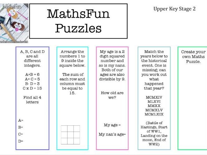 Maths Puzzles (Suitable for Years 5,6 and 7)